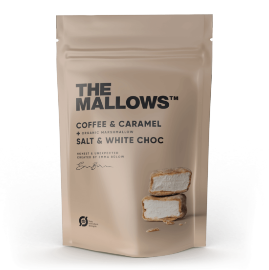 The Mallows-Økologiske-skumfiduser- Coffee Caramel stor med hvid chokolade, karamel kaffe/mocca i large fra Emma Bülow