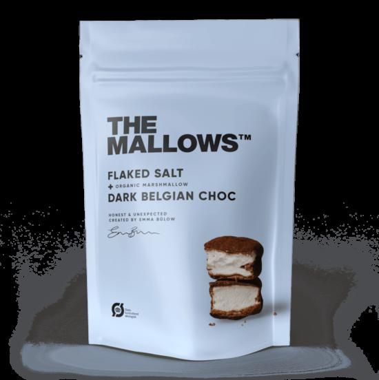 The Mallows-Økologiske-skumfiduser- Flaked Salt stor med mørk chokolade og maldonsalt i large fra Emma Bülow