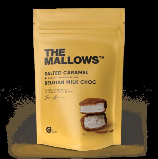 The Mallows-Økologiske-skumfiduser-Salted Caramel og maldonsalt stor med mælkechokolade, karamel og salt i large fra Emma Bülow