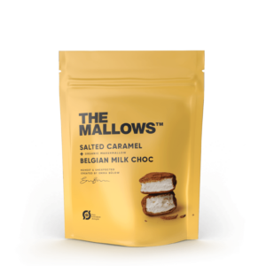 The Mallows-Økologiske-skumfiduser-Salted Caramel og maldonsalt small med mælkechokolade, karamel og salt fra Emma Bülow