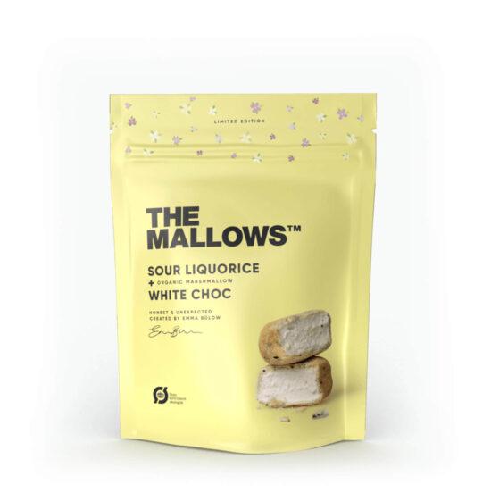 The Mallows-Økologiske-skumfiduser-Sour Liquorice small med hvid chokolade, lakrids og æblesyrer marshmallows fra Emma Bülow