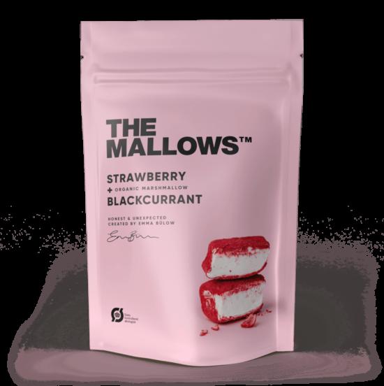 The Mallows-Økologiske-skumfiduser-strayberry & blackcurrant, med jordbær og solbær smag stor organic marshmallows fra Emma Bülow